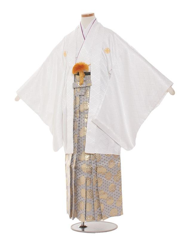 小学生卒業式袴男児1304 白/金の袴