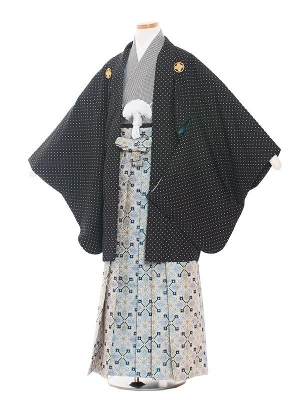 小学生卒業式袴男児1324 黒白ドット/袴