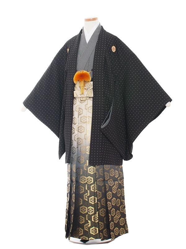 小学生卒業式袴男児1321 黒ドット柄/袴