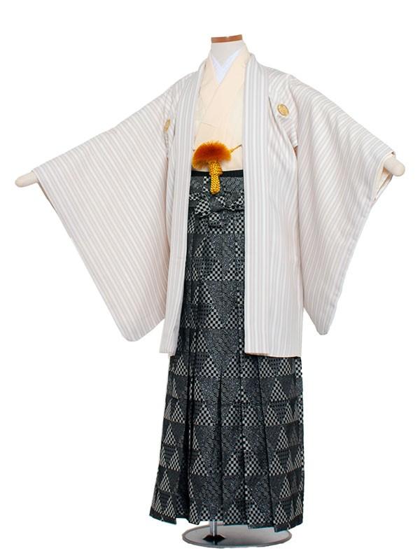 小学生卒業式袴レンタル(男の子)1348 白×グレーストライフ袴80