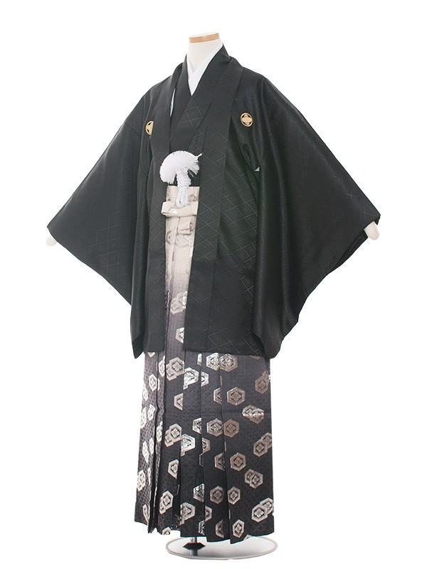 小学生卒業式袴男児1524黒紋付