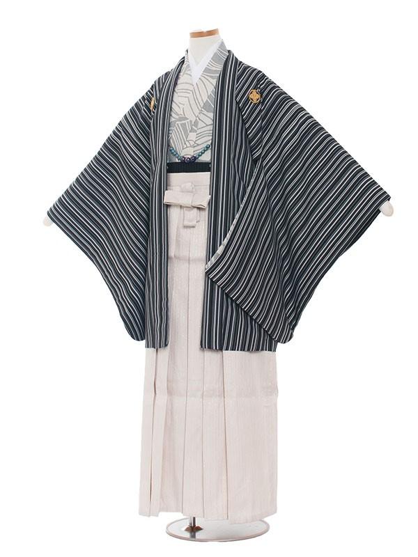 小学生卒業式袴レンタル(男の子)1327 紺黒ストライプ/袴