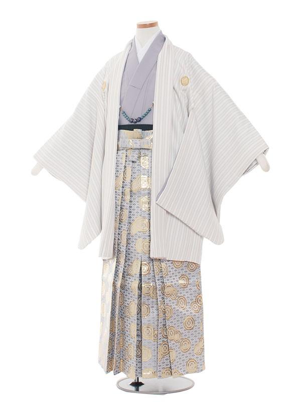 小学生卒業式袴男児1349 クリームストライプ/紫袴80