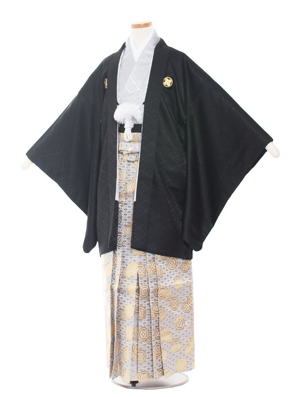 小学生卒業式袴男児1376-5 黒/グレー