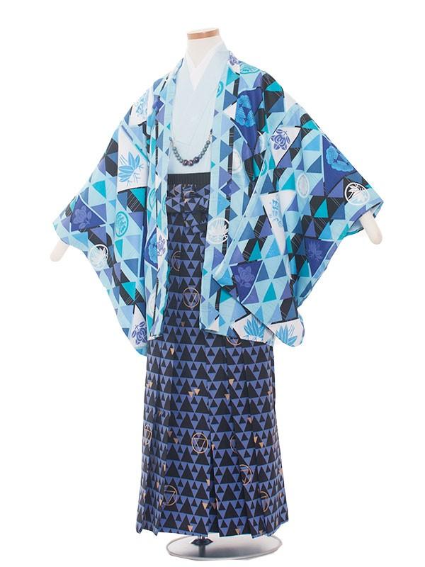 小学生卒業式袴レンタル(男の子)1334 水色/吉祥文様袴