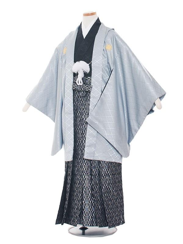 小学生卒業式袴男児1335 アイスグレー×黒/袴