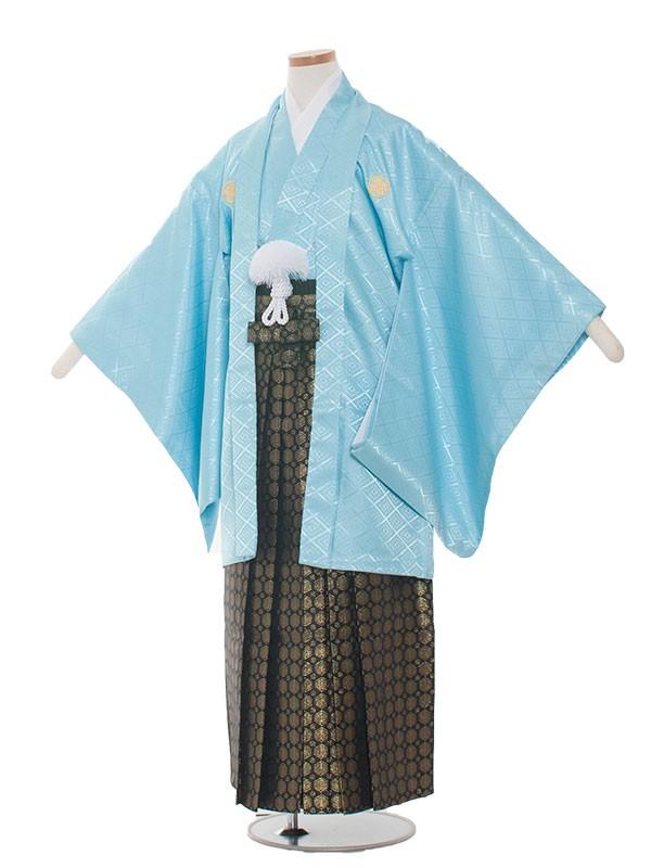 小学生卒業式袴男児1306 水色/黒金の袴80