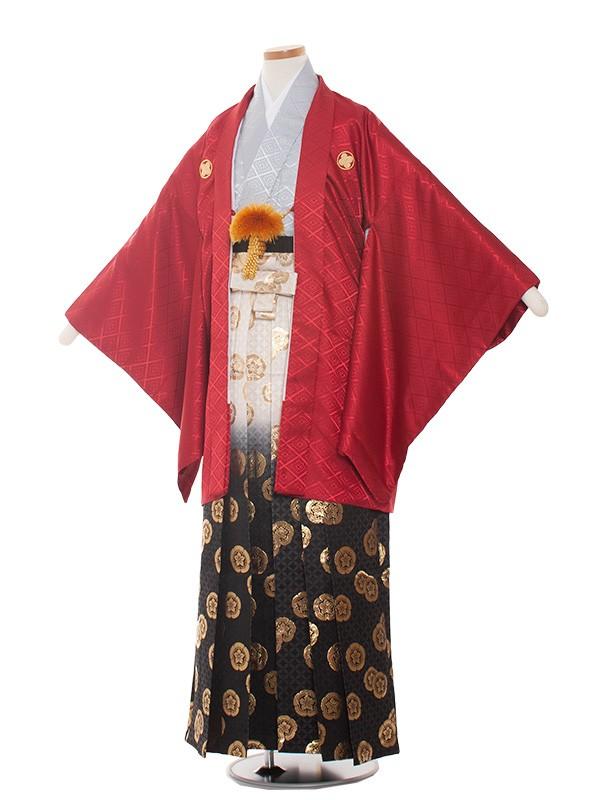 小学生卒業式袴レンタル(男の子)1373-3 赤/グレー金袴