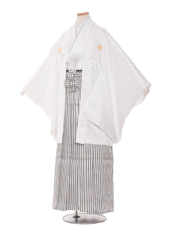 小学生卒業式袴レンタル(男の子)1513白×縦縞袴