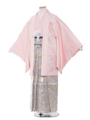 小学校 卒業式 男の子 袴1538 ピンク/シルバー袴