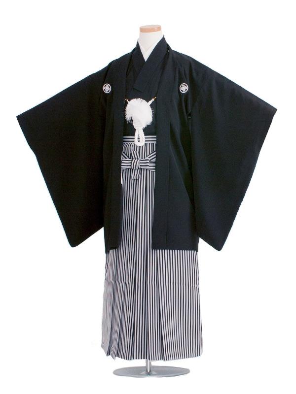 小学生卒業式袴レンタル(男の子)1510 定番の黒紋付85cm