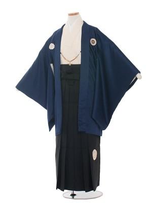 小学生卒業式袴レンタル(男の子)1428 青/黒袴
