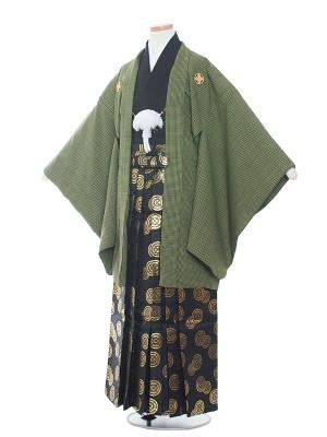 小学校 卒業式 男の子 袴1546緑/黒金亀甲袴