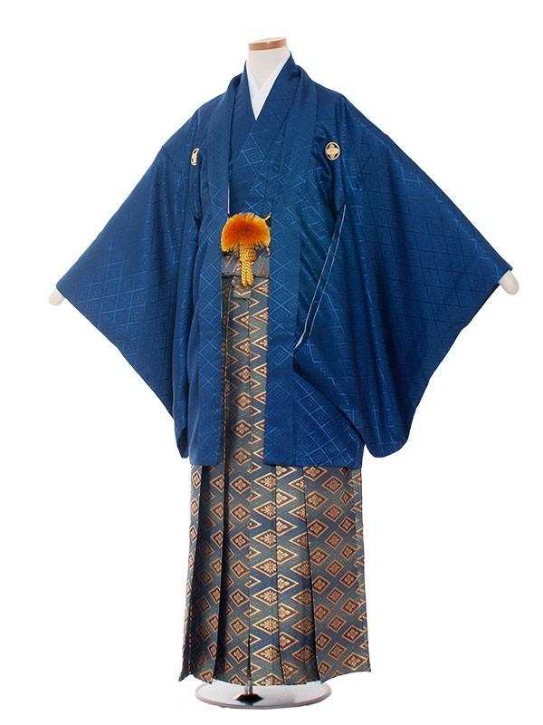 小学生卒業式袴男児1303 紺×青袴