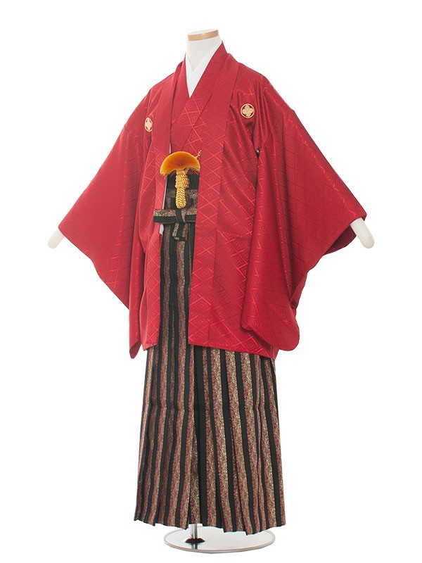 小学生卒業式袴男児1001 赤×グレーの袴