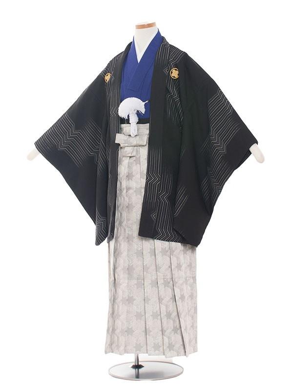 小学生卒業式袴男児1384 黒おしゃれ/紺