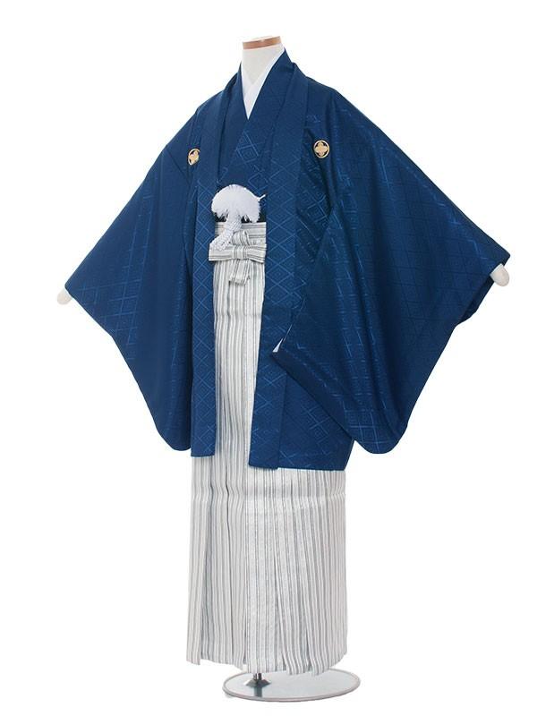小学生卒業式袴男児1305 紺/シルバーの袴85
