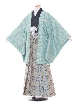 小学校 卒業式 男の子 袴1436 緑ラメ 横縞