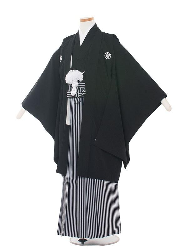 小学生卒業式袴レンタル(男の子)1310-3 定番の黒紋付