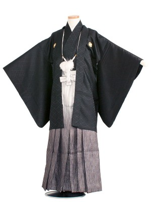 小学生卒業式袴レンタル(男の子)1402-2 黒/黒ぼかし袴