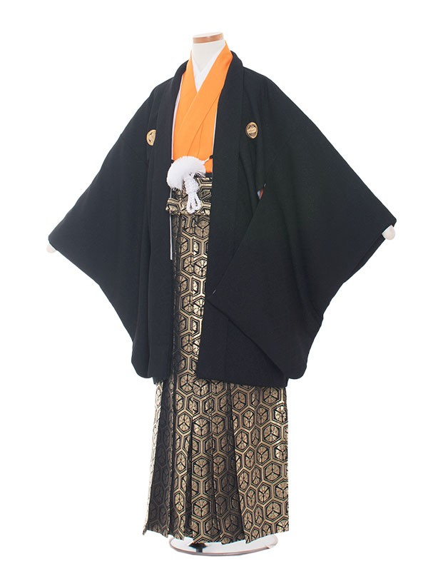 小学生卒業式袴レンタル(男の子)1313 黒/オレンジ