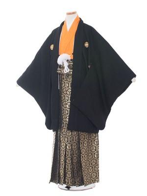小学校 卒業式 男の子 袴1313 黒/オレンジ