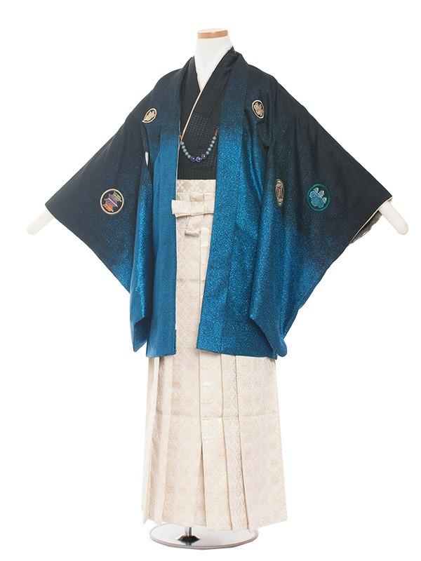 小学生卒業式袴レンタル(男の子)1366 織美桐/青 袴