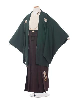 小学校 卒業式 男の子 袴1432 深緑/茶袴