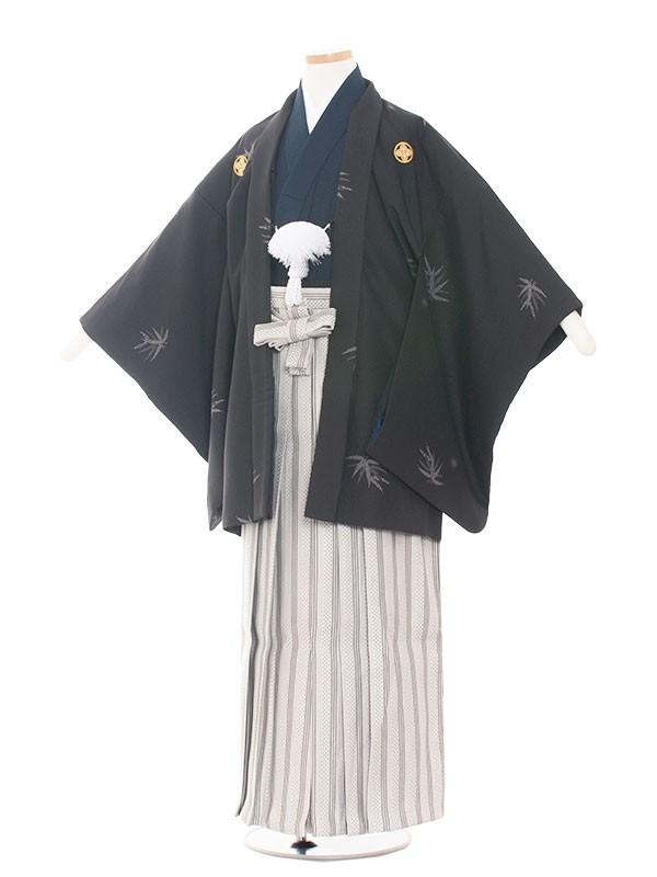 小学生卒業式袴男児1506 紅葉柄黒