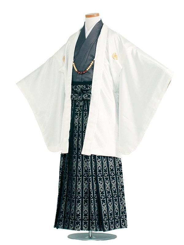 小学生卒業式袴男児1339 白/グレー袴