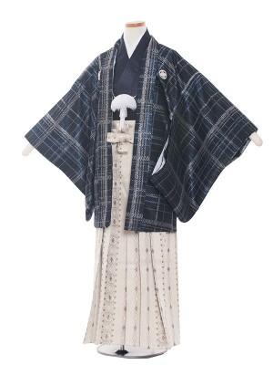 小学校 卒業式 男の子 袴1380 紺色チェック柄/袴