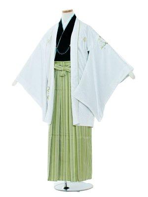 小学校 卒業式 男の子 袴1007 白色/緑袴