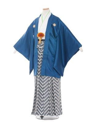 小学生卒業式袴レンタル(男の子)1518紺白×ブルー系袴