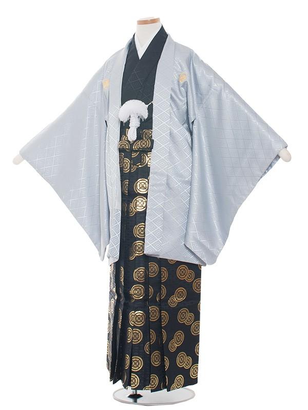 小学生卒業式袴男児1374-3 グレー/黒