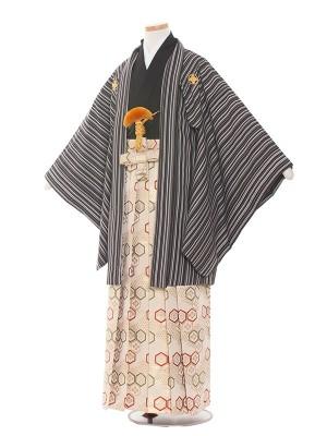 小学校 卒業式 男の子 袴1543 黒縦模様/黒金亀甲袴