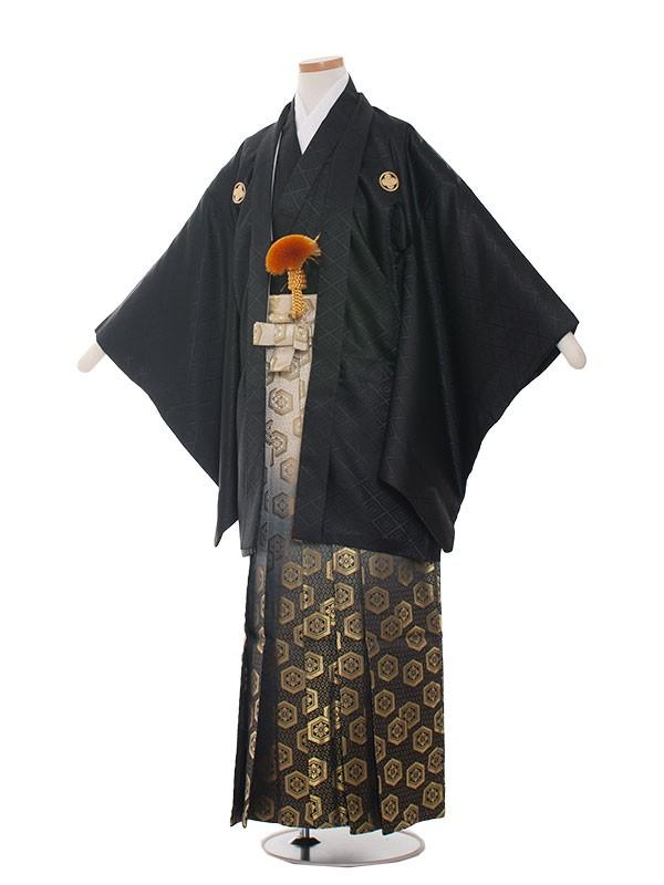 小学生卒業式袴レンタル(男の子)1517黒×黒金ぼかし