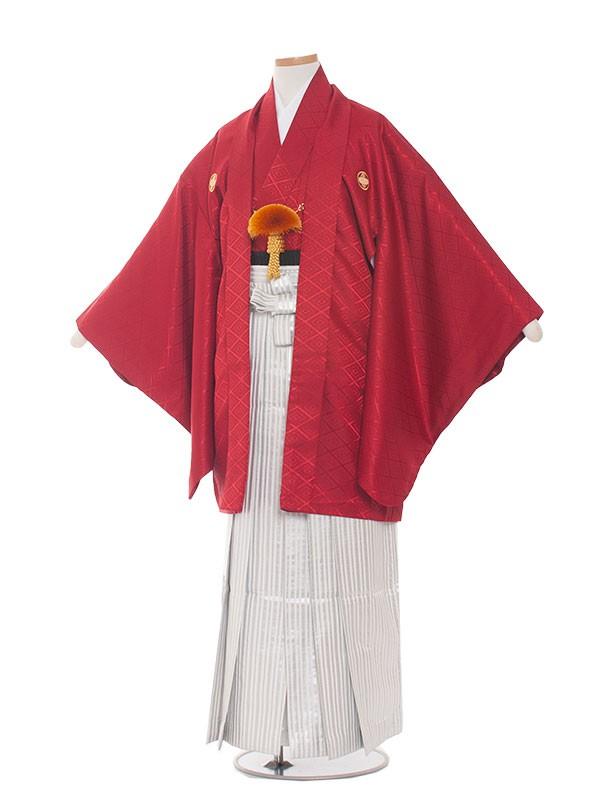 小学生卒業式袴男児1601赤地×白銀縞袴