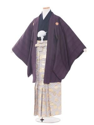 小学生卒業式袴レンタル(男の子)1527紫/シルバー袴