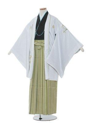 小学校 卒業式 男の子 袴1314 白/グリーン袴