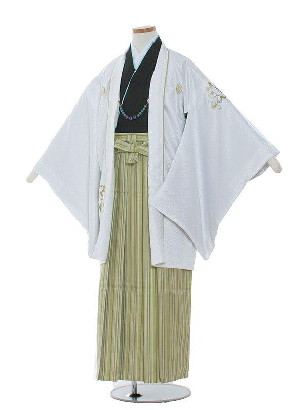 小学生卒業式袴男児1314 白/グリーン袴