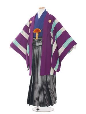 小学生卒業式袴レンタル(男の子)1521紫矢絣