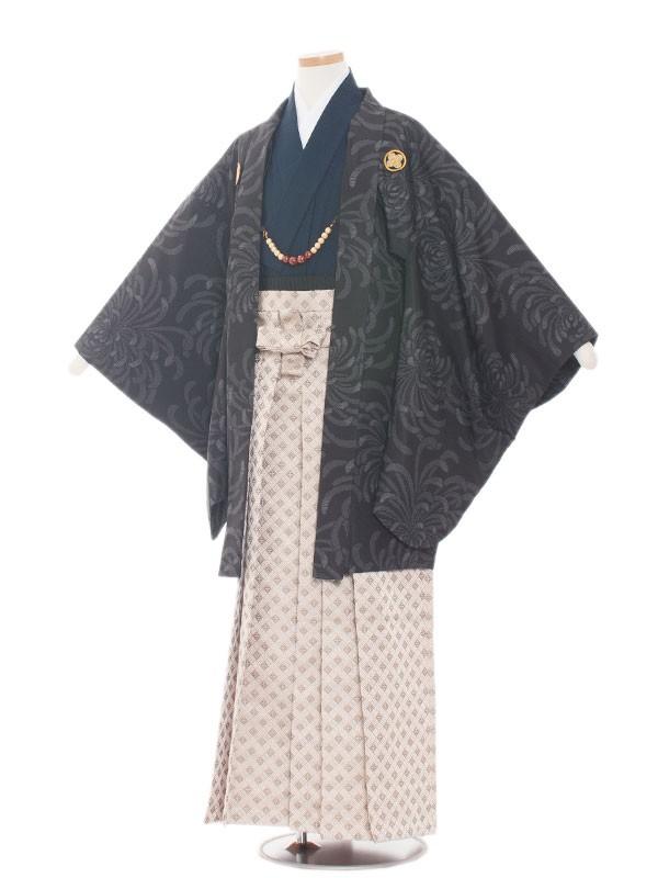 小学生卒業式袴レンタル(男の子)1520黒地菊柄