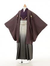 ジュニア袴男児0946千鳥格子紫×白黒ぼかし袴