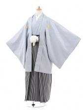 ジュニア袴男児0966グレ‐シルバ-×黒グレ‐縞袴