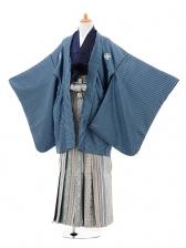 ジュニア袴男児0972ブルー縞×グリーン西洋縞袴