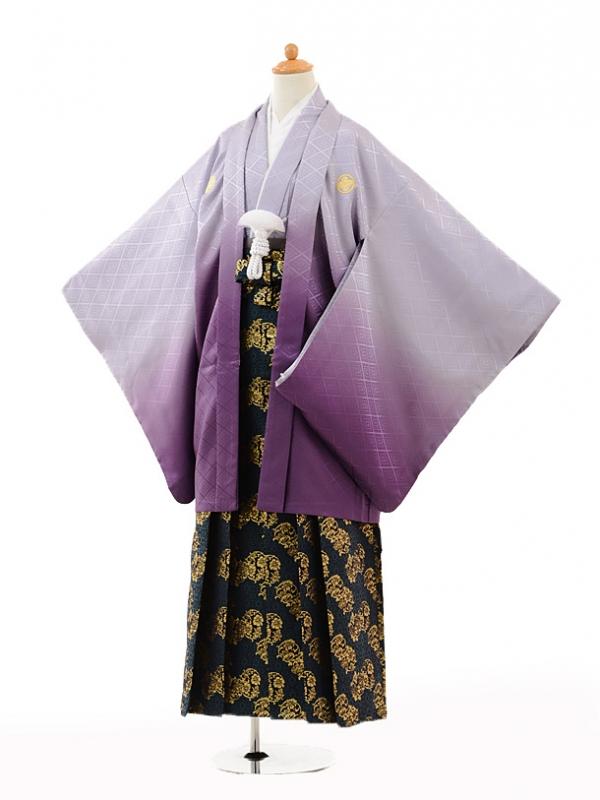 小学生卒業式袴男児0991紫ぼかし紋付×濃緑