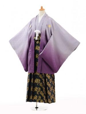 小学生 卒業式 袴 男児 0991紫ぼかし紋付×濃緑