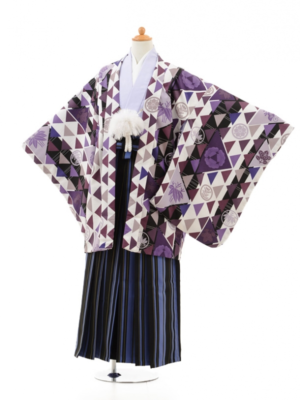 小学生卒業式袴男児0980パープル×ブルー縞袴