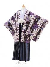 ジュニア袴男児0980パープル×ブルー縞袴