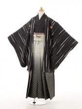 ジュニア袴男児0949黒グレー×白黒ぼかし袴